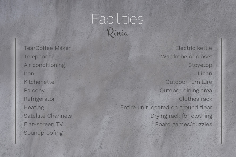 Facilities at Villa Rinia
