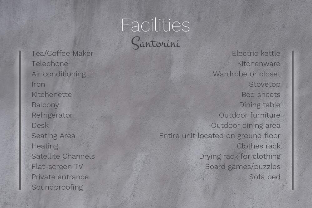 Facilities at Villa Santorini