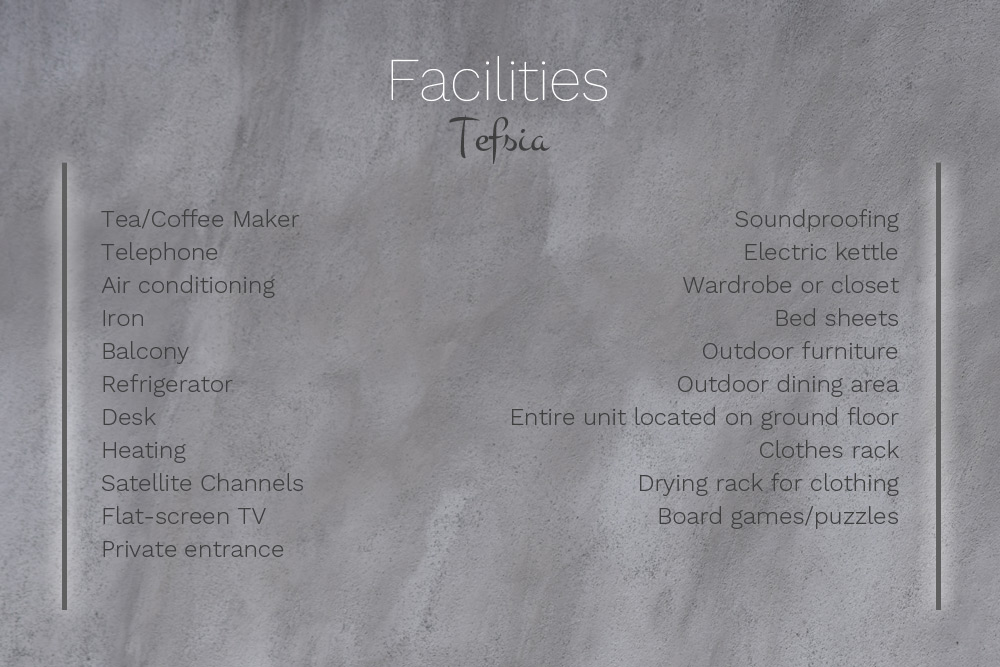 Facilities at Villa Tefsia