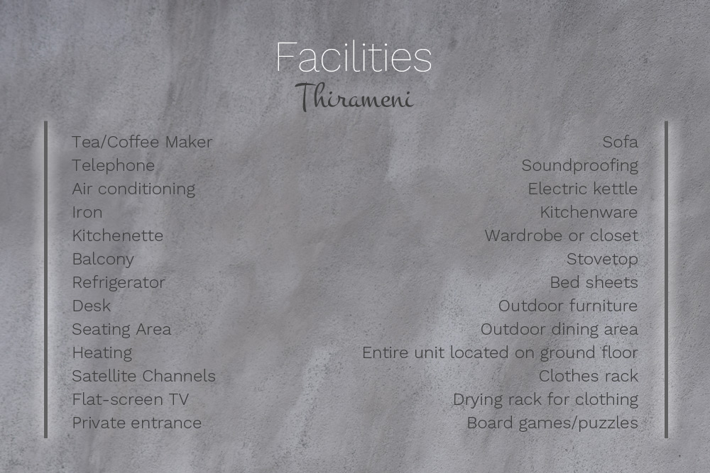 Facilities at Villa Thirameni